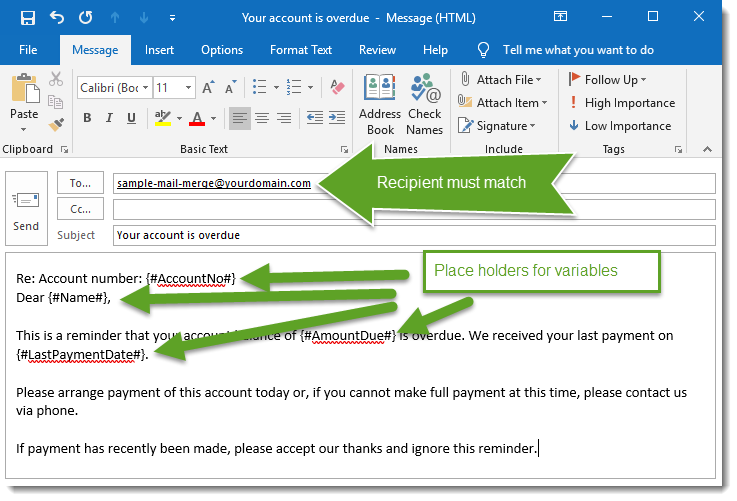 Composing email in MS Outlook